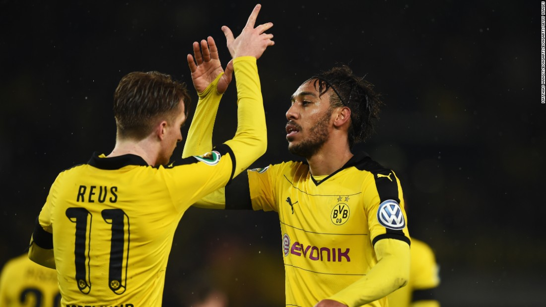 Last season's beaten finalist Dortmund progressed to the semifinals of the German Cup with a 3-1 win thanks to goals from Marco Reus, Pierre-Emerick Aubameyang and Henrik Mkhitaryan.