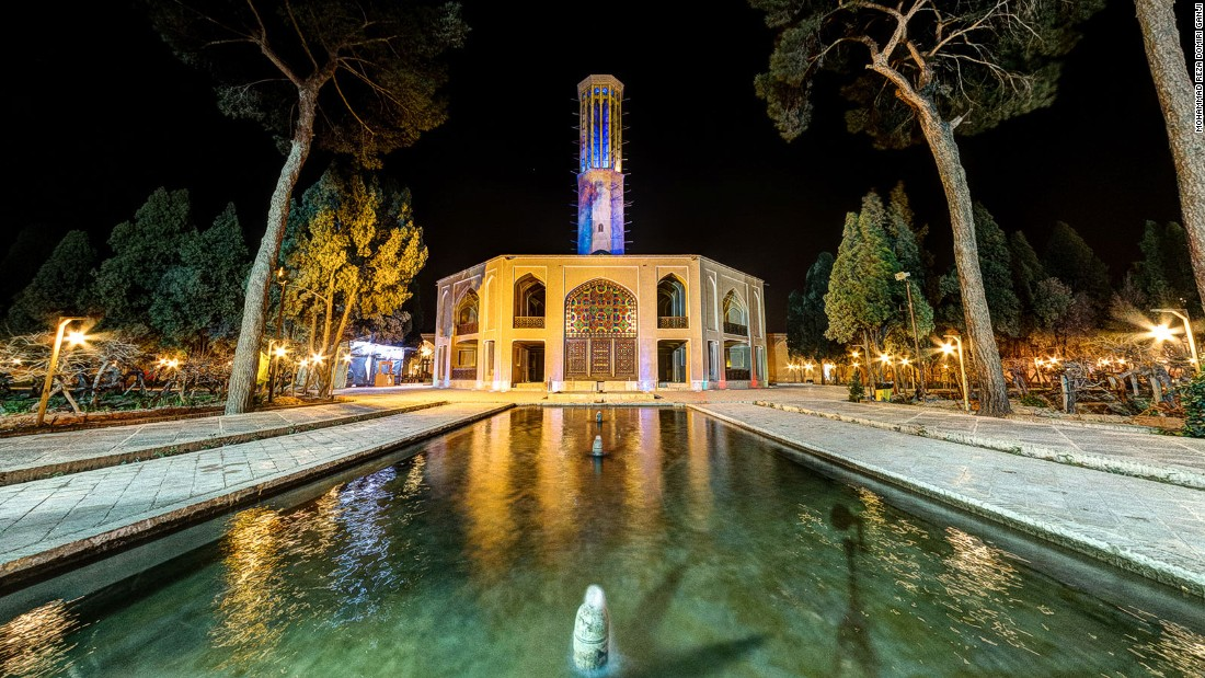 The 18th-century Dolat Abad garden follows a classic Iranian design, and has a distinctive windcatcher -- a building used to provide natural air conditioning.