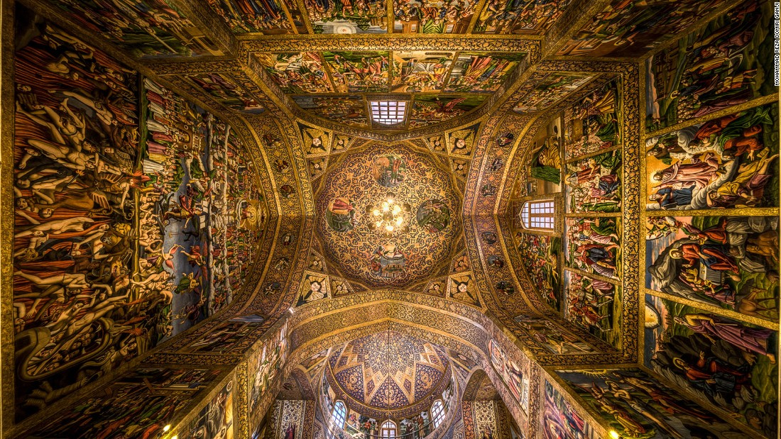 """I was amazed by the golden color of the ceiling and the unique paintings all around,"" says Ganji. ""I put my camera on the floor and tilted it upwards using a wide lens to capture this photo."""