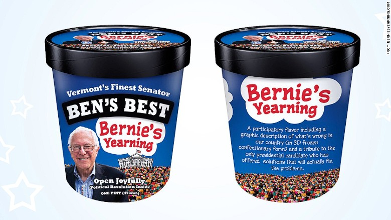 Bernie Sanders tries 'Bernie's Yearning' ice cream
