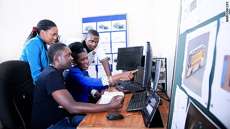 Staff at Kiira Motors evaluate a design for the Kayoola solar bus