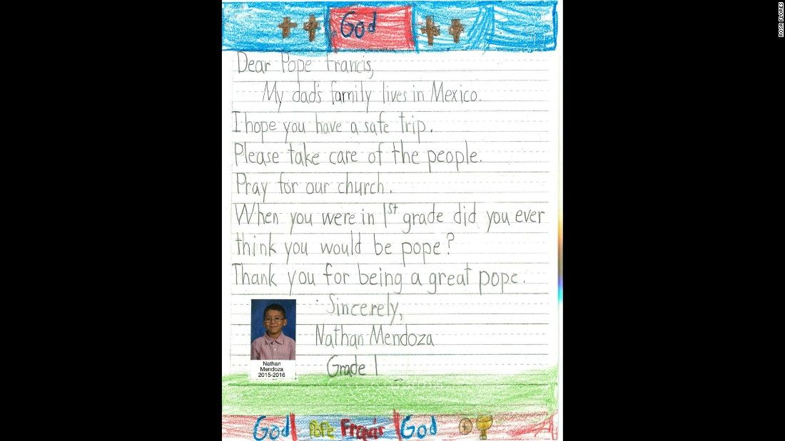 """When you were in 1st grade did you ever think you would be pope?"" asks Nathan Mendoza."
