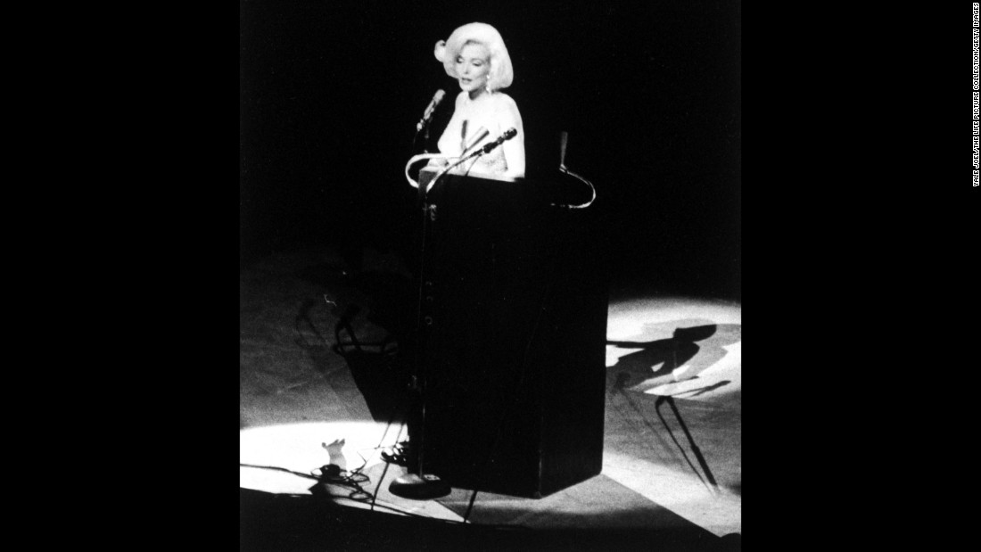 "Actress Marilyn Monroe delivers a sultry rendition of ""Happy Birthday"" at Kennedy's 45th birthday celebration in May 1962. It was her last major public appearance before her death three months later. The star was long rumored to have had an affair with Kennedy."