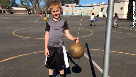 Cooper Stutler on the playground of Sunny Brae Avenue school. Nearly 2,000 students had to switch schools after the leak.