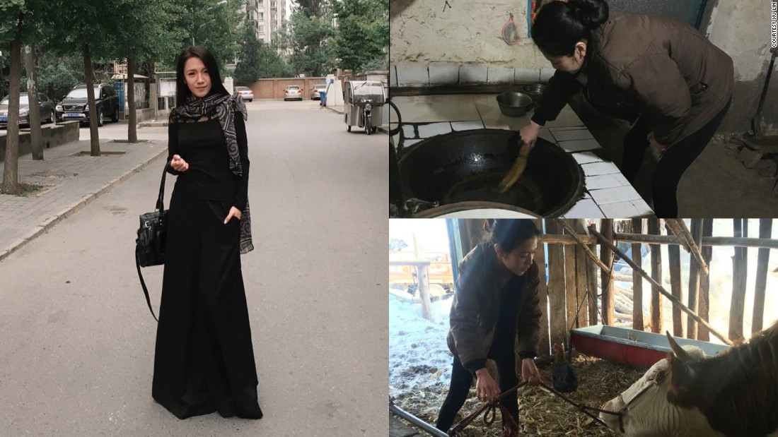 Xu Lin, a model working in Beijing, shares pictures of herself feeding a cow and cooking in her home village in China's Jilin province.<br />