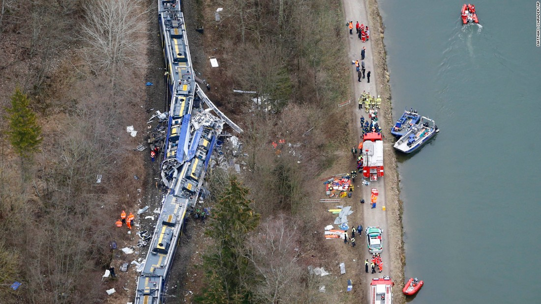 "Two trains <a href=""http://www.cnn.com/2016/02/09/europe/germany-train-collision/index.html"" target=""_blank"">collided head-on</a> near Bad Aibling, Germany, on Tuesday, February 9. At least 10 people were killed and 17 were critically injured. How the two trains came to be running toward each other on the same track is still unclear, authorities said."