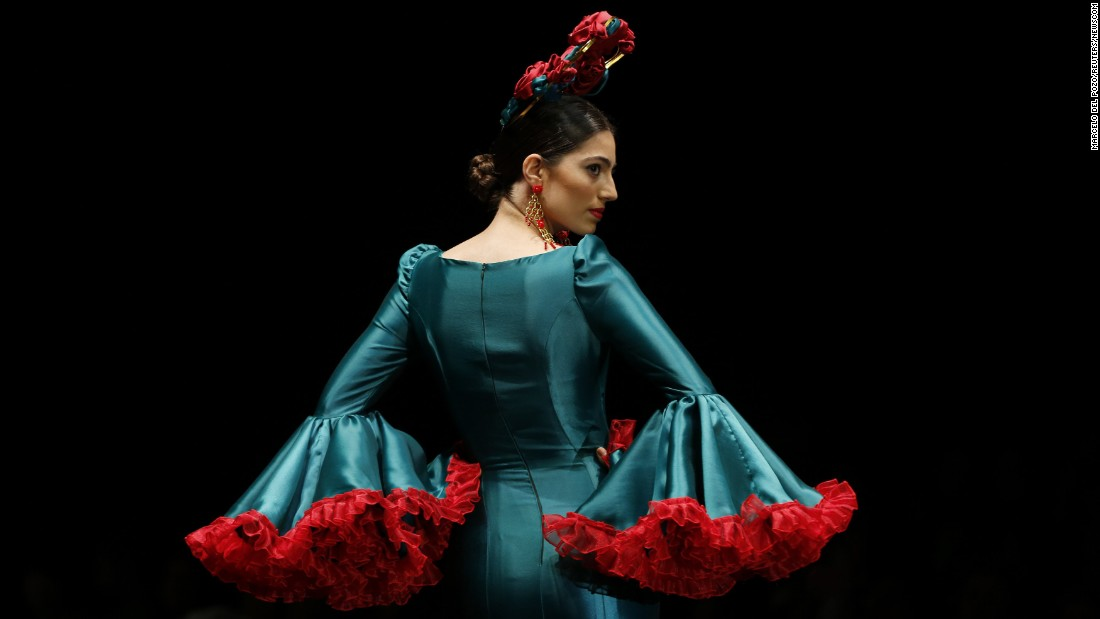 A model presents a creation by Cristina Granero during a fashion show in Seville, Spain, on Friday, February 5.