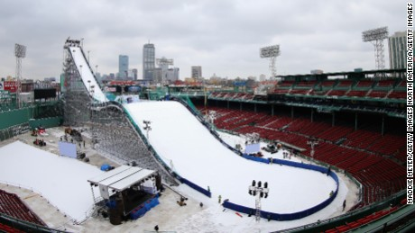 A view of the ski and snowboarding ramp at Fenway Park ahead of the Big Air at Fenway Event.