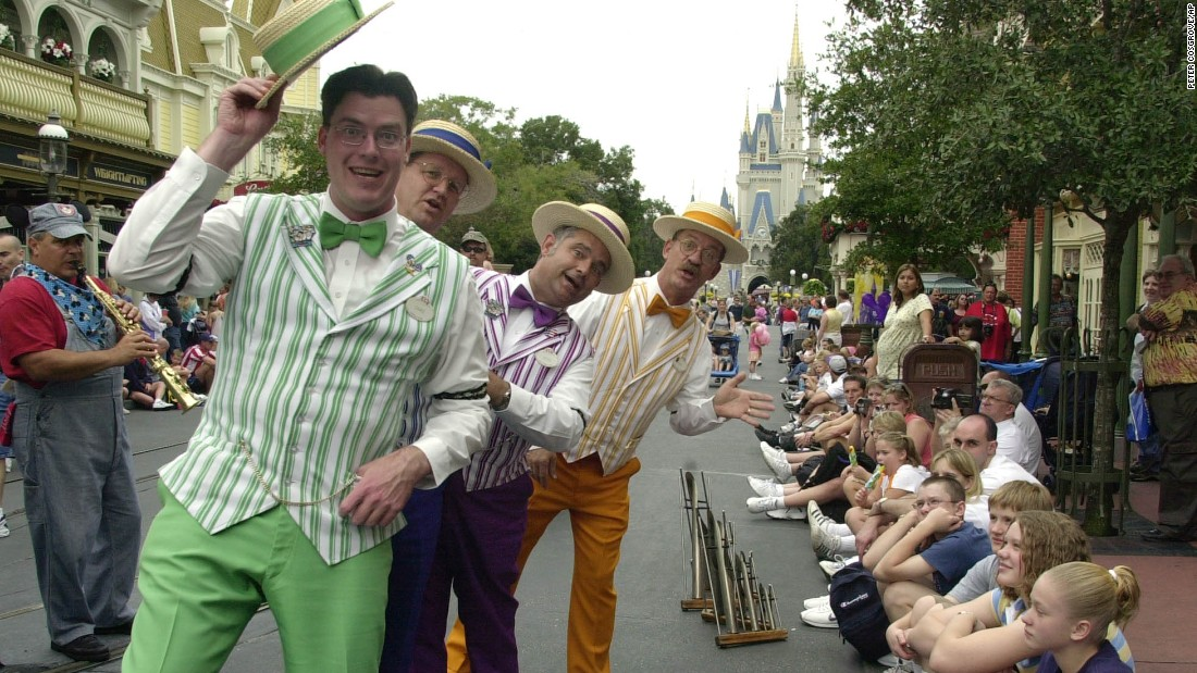 The Dapper Dans of Disney World, self-described as the finest barbershop ensemble in a two block radius on Main Street, U.S.A., deliver pun-laden wordplay and tap dancing medleys to entertain guests. The group has been a Disney theme park staple dating back to 1959, when they began performing at Disneyland in California. They've been strutting down Main Street at Disney World since the park opened in 1971.