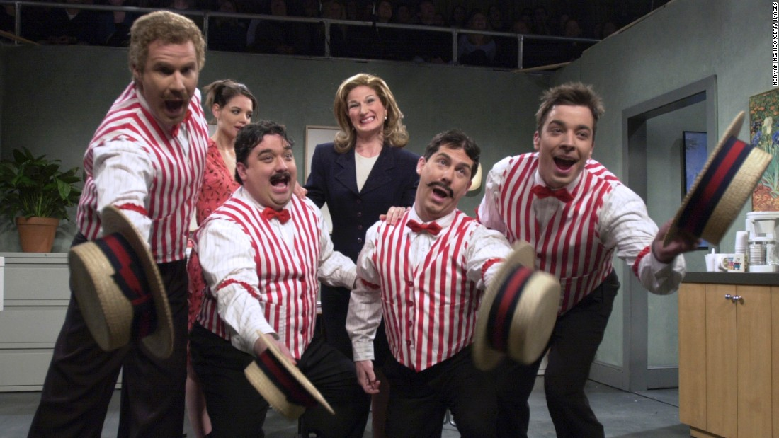 "Will Ferrell (far left) and Jimmy Fallon far right) got decked out in straw hats and striped vests to sing an ironically chirpy song about workplace hostility in a 2001 ""Saturday Night Live"" sketch. The song centered on a mean-spirited boss nicknamed Passive Aggressive Pam."