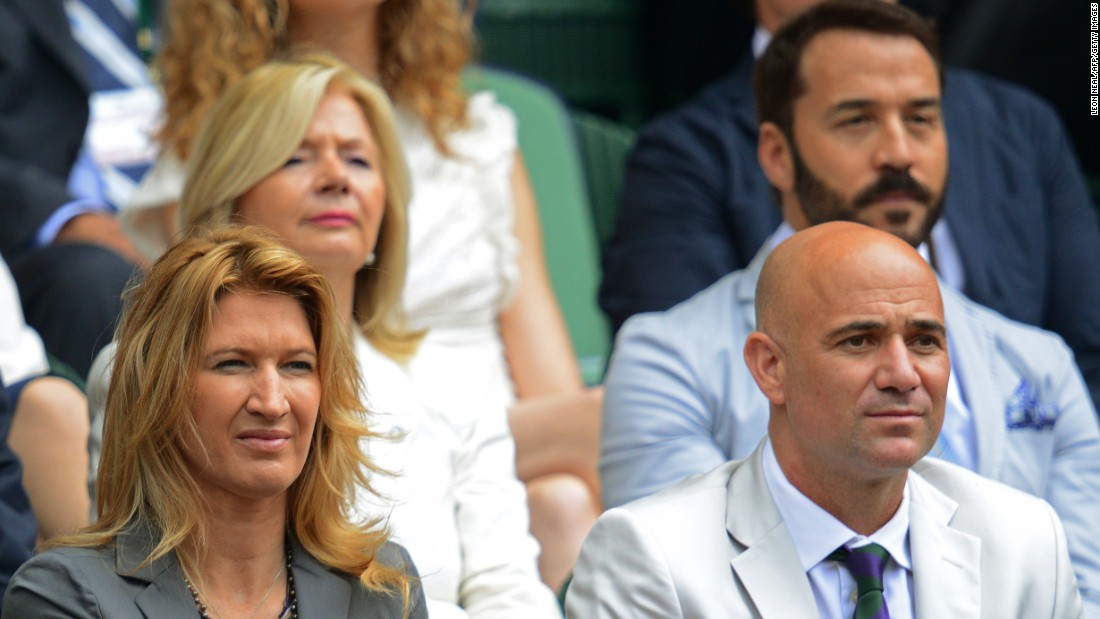 Kerber became the first German to win a grand slam title since Graf -- pictured left with husband Andre Agassi -- in 1999.