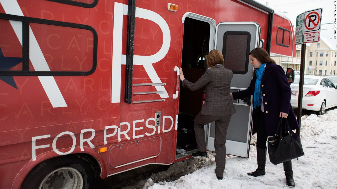 "Carly Fiorina gets on her campaign RV in Manchester, New Hampshire, on Tuesday, February 9. The former Hewlett-Packard executive announced a day later that she would be <a href=""http://www.cnn.com/2016/02/10/politics/carly-fiorina-drops-out-suspends-campaign/"" target=""_blank"">suspending her bid</a> for the Republican presidential nomination."