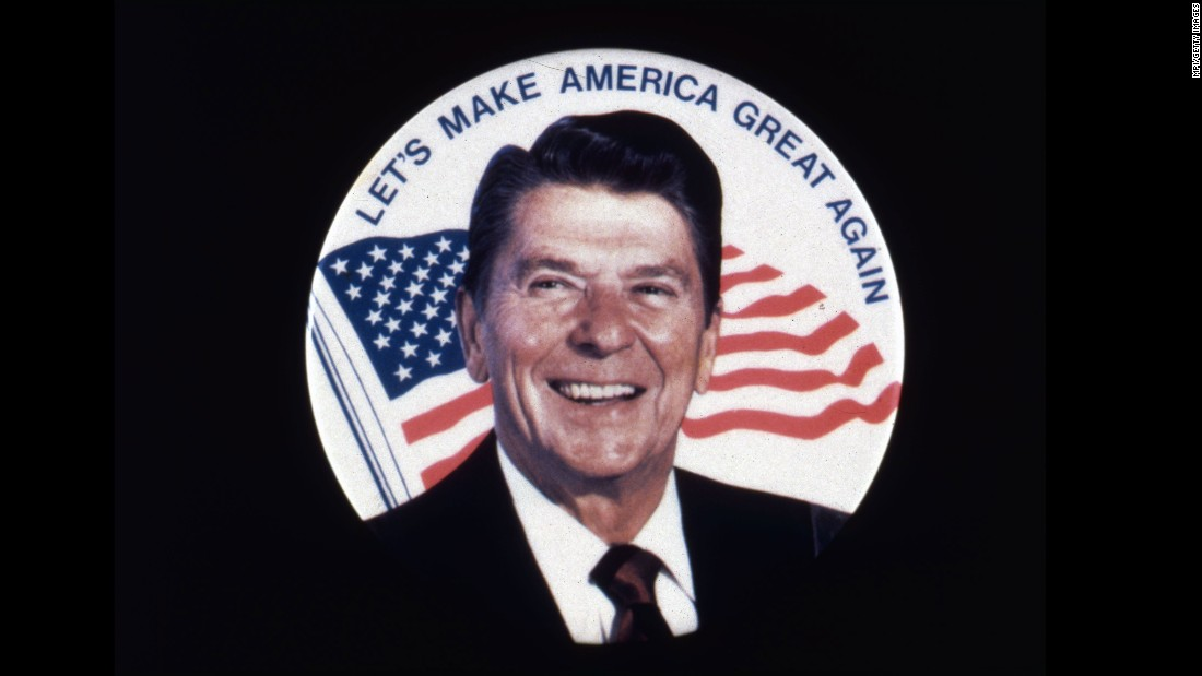 "A Ronald Reagan campaign button shows his 1980 slogan, ""Let's Make America Great Again."""