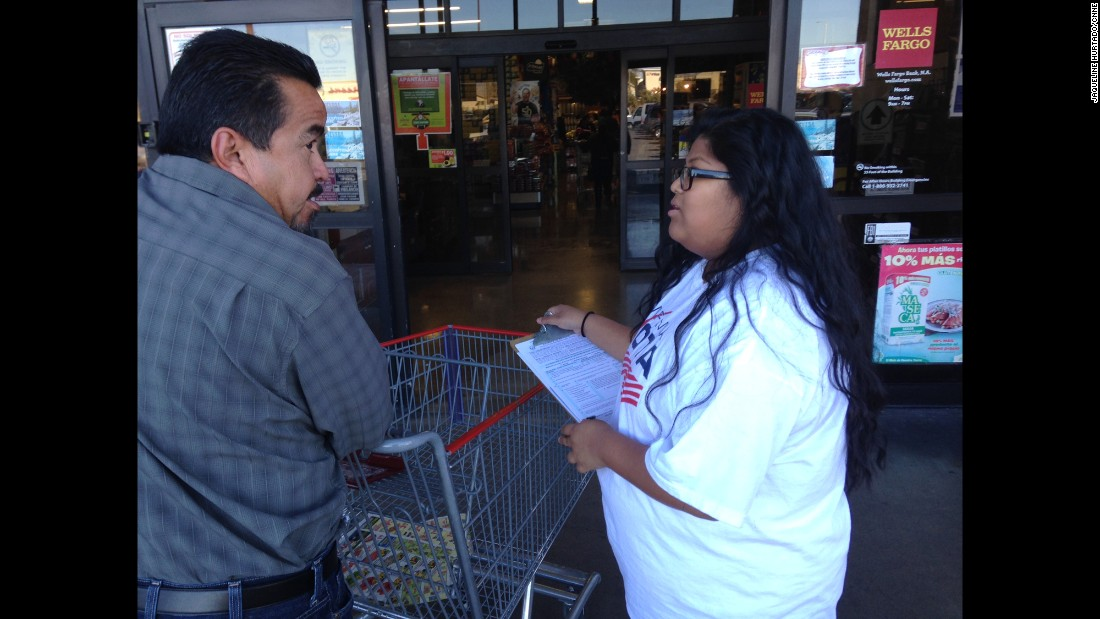 Naomi Guigui volunteers for the organization Mi Familia Vota -- My Family Votes -- getting people to register to vote.