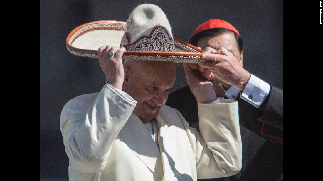 Pope Francis dons a Mexican sombrero on February 13.