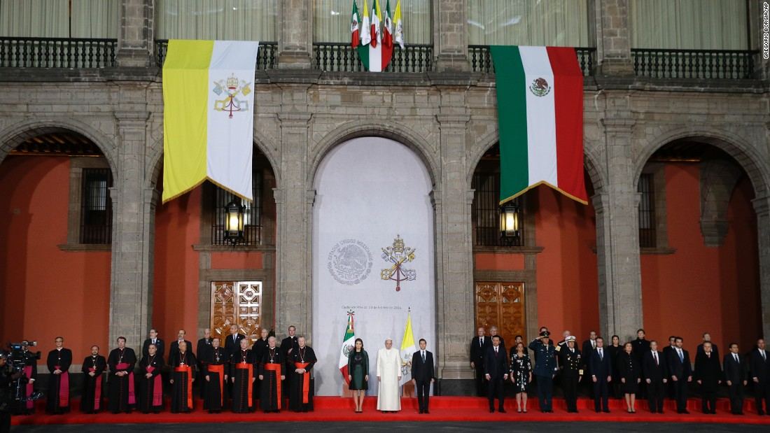 Pope Francis is welcomed by Pena Nieto and his wife, Angelica Rivera, on February 13.