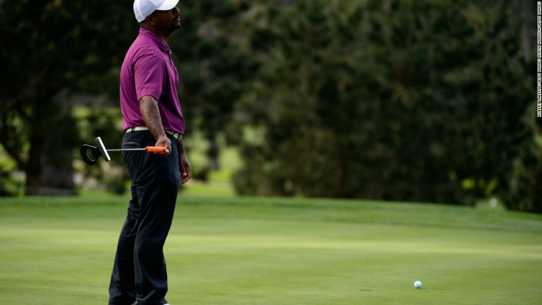 Former star of the Fresh Prince of Bel Air, Alfonso Ribeiro, reacts to a missed putt at Pebble Beach.