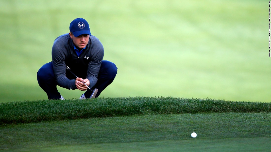 One of golf's very own celebrity superstars, Jordan Spieth lines up a putt on the 10th green during the second round of the Pebble Beach National Pro-Am at the Monterey Peninsula Country Club.