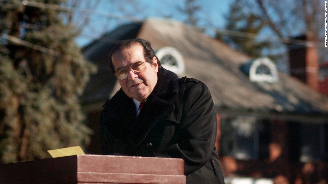 Scalia speaks to a crowd gathered at the Religious Freedom Monument in Fredericksburg, Virginia, to celebrate Religious Freedom Day on January 12, 2003. Scalia complained that courts have gone overboard in keeping God out of government.