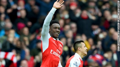 Danny Welbeck of Arsenal celebrates after scoring the winning goal in its 2-1 win over Leicester City in the top of the table clash at the Emirates.
