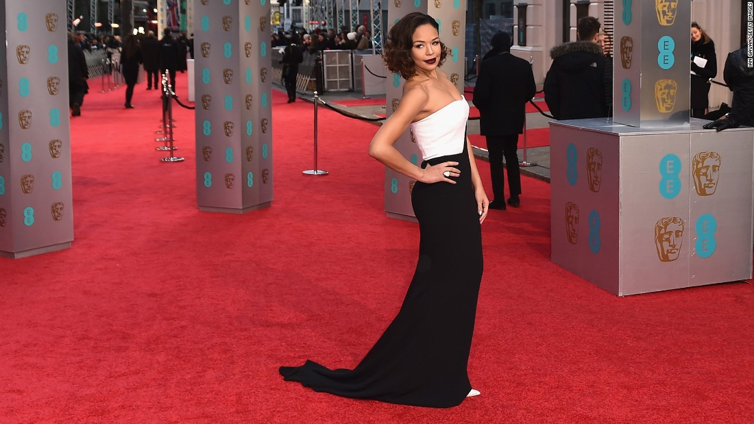 Sarah-Jane Crawford attends the British Academy Film Awards at the Royal Opera House in London on Sunday, February 14. Click through the gallery for other stars parading their newest looks on the red carpet.