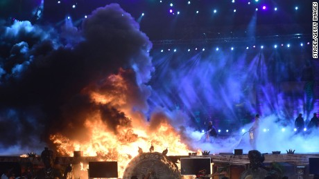 The stage burst into flames during an opening ceremony event.
