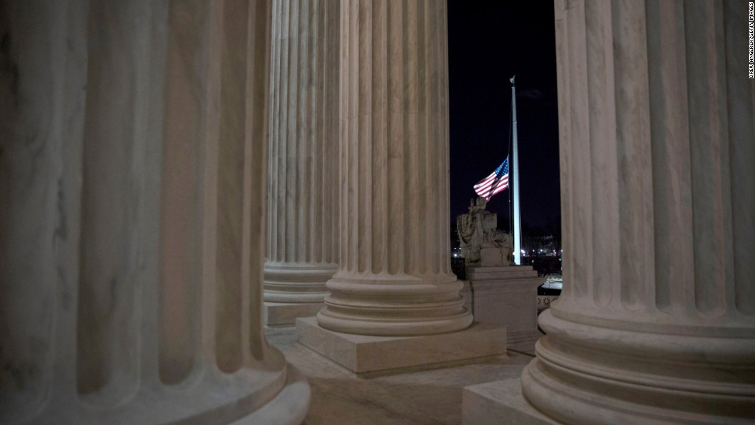 "A flag at the U.S. Supreme Court is lowered to half-staff on Saturday, February 13, following the announcement of the death of <a href=""http://www.cnn.com/2016/02/13/politics/supreme-court-justice-antonin-scalia-dies-at-79/index.html"" target=""_blank""> Justice Antonin Scalia</a>, the leading conservative voice on the high court. Scalia's death set off an immediate debate about whether President Barack Obama should fill the seat in an election year."