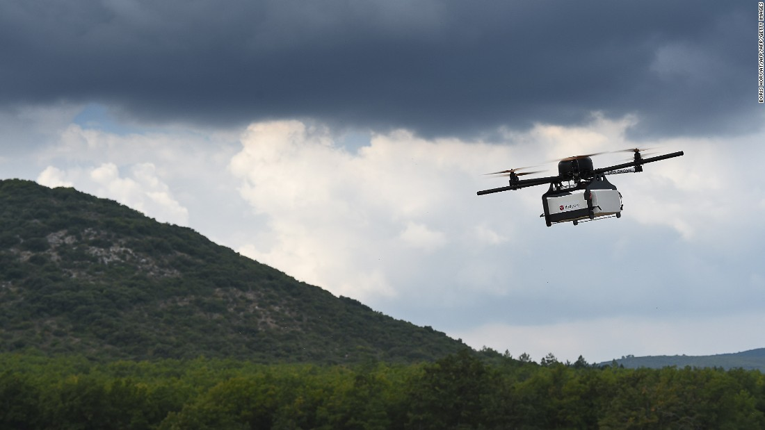 The team believes one of the key challenges in using drones is changing perceptions about the device and understanding that unmanned aircraft, like drones, can be used for good. Pictured, a prototype of a package delivery drone.