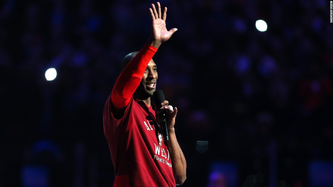 Kobe Bryant speaks to the crowd in Toronto before playing in his final NBA All-Star Game on Sunday, February 14. Bryant is retiring at the end of the season.