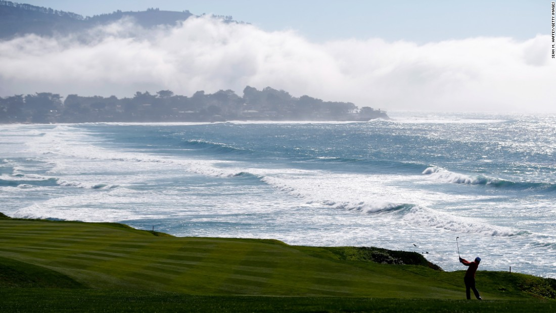 Sung Kang plays a shot from the fairway during the third round of the Pebble Beach National Pro-Am, which took place Saturday, February 13, in Pebble Beach, California. The PGA Tour pro shot a course-record 60 in the second round.