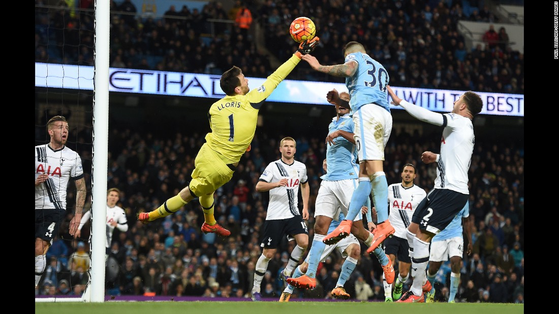 Tottenham goalkeeper Hugh Lloris makes a save during a Premier League match at Manchester City on Sunday, February 14.