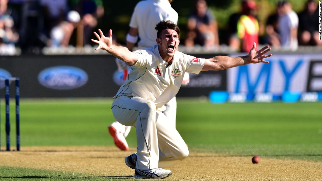 Australian cricketer Mitchell Marsh appeals for a call during a Test match in New Zealand on Sunday, February 14.