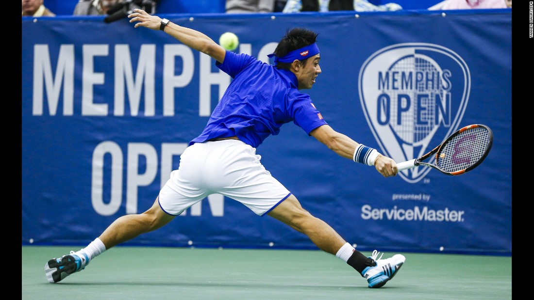 "Kei Nishikori reaches for a backhand shot Saturday, February 13, during a semifinal match at the Memphis Open in Memphis, Tennessee. Nishikori went on to win the tournament for the fourth straight year. <a href=""http://www.cnn.com/2016/02/09/sport/gallery/what-a-shot-sports-0209/index.html"" target=""_blank"">See 29 amazing sports photos from last week</a>"