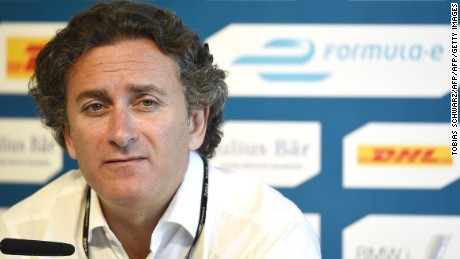 CEO of Formula E Holdings, Spanish Alejandro Agag attends a press conference in Berlin, on May 22, 2015 on the eve of the 2015 Fia Formula E Berlin championships. The Formula E series features 100 percent electric cars competing over 11 stops. The first six legs were raced in Asia and America, all with different winners.  AFP PHOTO / TOBIAS SCHWARZ        (Photo credit should read TOBIAS SCHWARZ/AFP/Getty Images)
