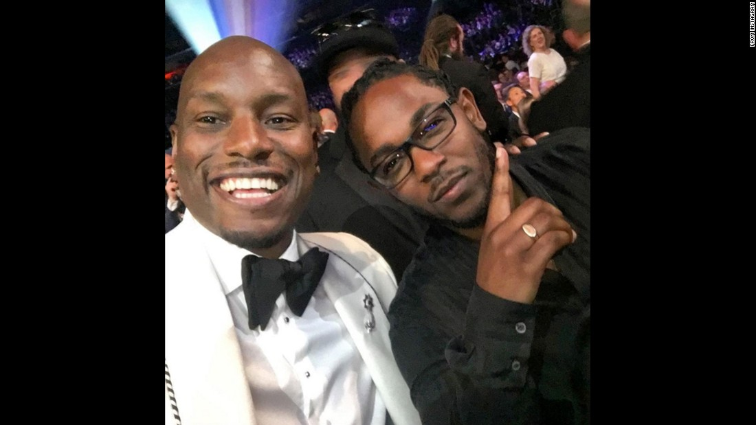 "Actor and singer Tyrese Gibson, left, takes a selfie with rapper Kendrick Lamar at the Grammy Awards on Monday, February 15. ""All of our success is dedicated to the future generations out of South Central LA,"" <a href=""https://www.instagram.com/p/BB1CrgaIZiS/"" target=""_blank"">Gibson said on Instagram.</a> ""Our success represents what's POSSIBLE!!!!!!!!!!!"""