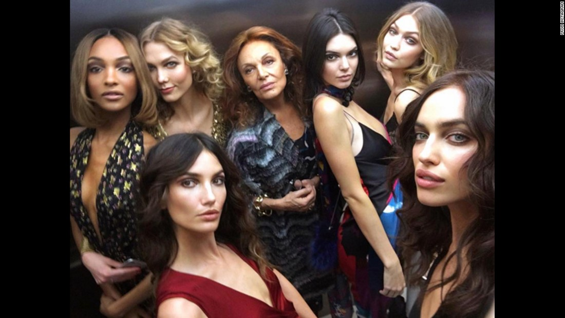 "Fashion designer Diane von Furstenberg, center, is surrounded by famous models in <a href=""https://www.instagram.com/p/BByBimIt-YT/"" target=""_blank"">this elevator selfie posted by Irina Shayk,</a> far right. Also appearing in the photo, from left, are Jourdan Dunn, Karlie Kloss, Lily Aldridge, Kendall Jenner and Gigi Hadid."