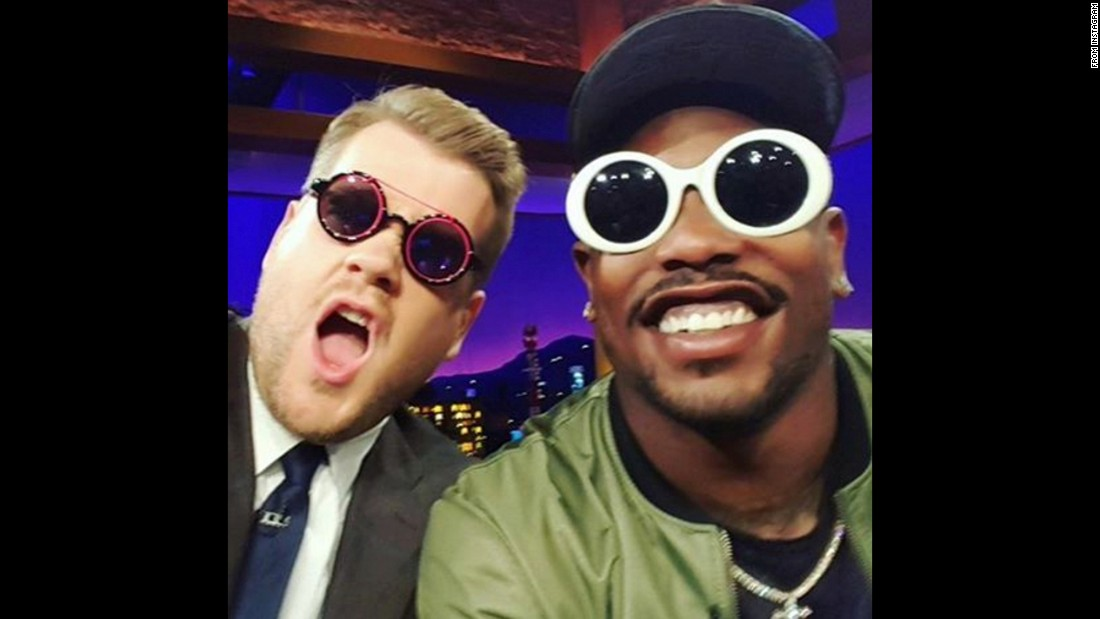 "James Corden, host of ""The Late Late Show,"" <a href=""https://www.instagram.com/p/BBnR6hzvLXl/"" target=""_blank"">takes a selfie</a> with Super Bowl MVP Von Miller, right, on Wednesday, February 10."