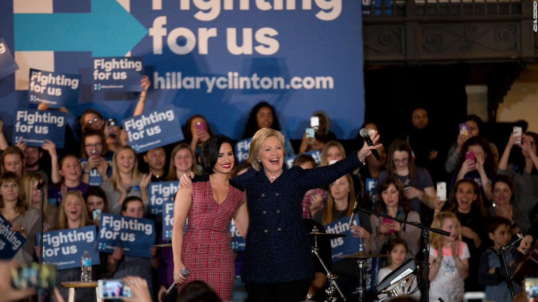 "Clinton turned to a new celebrity surrogate -- singer Demi Lovato -- in an effort to win over young women in Iowa, a state where Sanders' strength depends largely on his ability to turn out the youth vote.<br /><br />In January, Clinton and Lovato drew a crowd of largely young women to the University of Iowa campus, where Lovato vouched for Clinton. After performing her hit song ""Confident,"" <a href=""http://www.cnn.com/2016/01/21/politics/hillary-clinton-demi-lovato-young-women-voters/"" target=""_blank"">Lovato said:</a> ""I don't think there's a woman more confident than Hillary Clinton."""