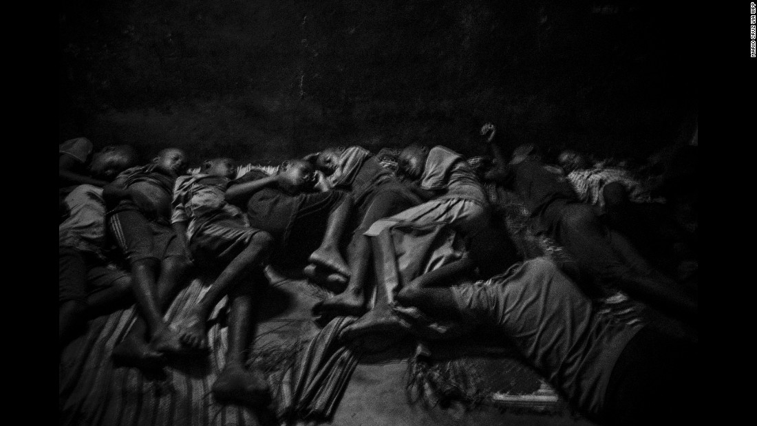 This series portrays the plight of talibes, boys who live at Islamic schools known as daaras in Senegal. Here, talibes sleep together in Saint-Louis, Senegal, on May 21. Their daara has no clean water and barely any electricity. They sleep on the concrete floor.