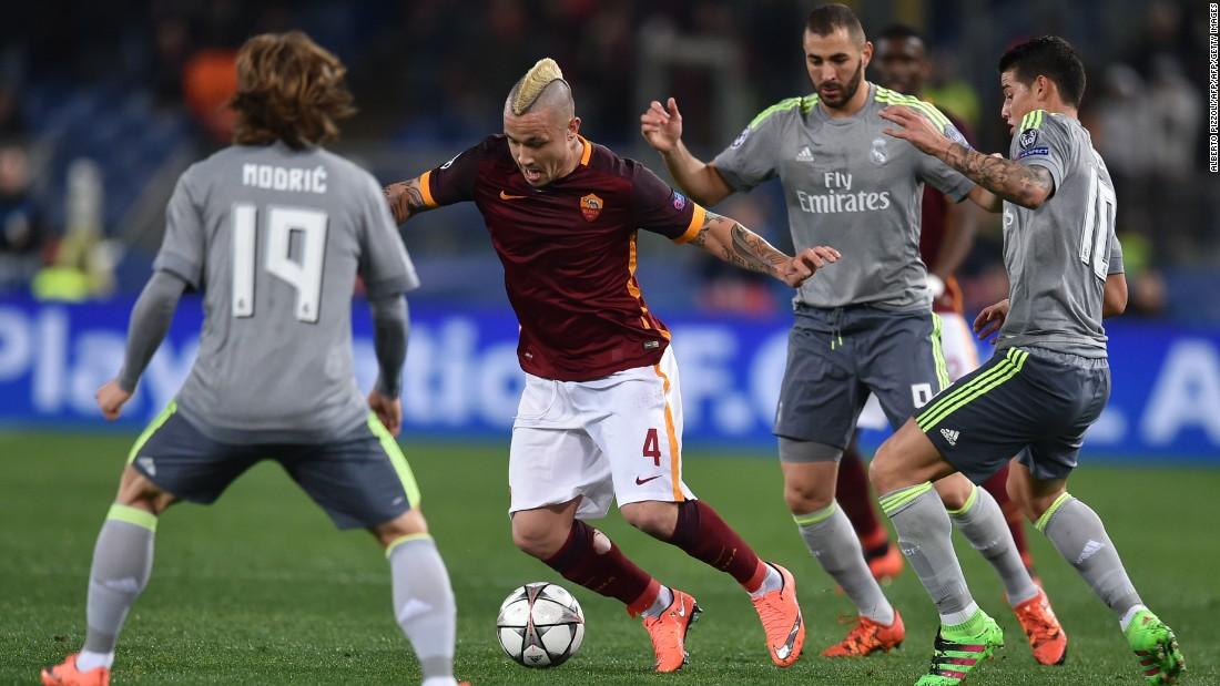 Roma's Radja Nainggolan was in the thick of the action during a scrappy first half in which the home side canceled Real out.