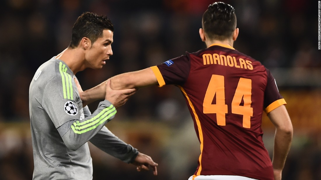 Ronaldo endured a frustrating first half with Roma making sure it kept close to the Portuguese star and denying him any space.