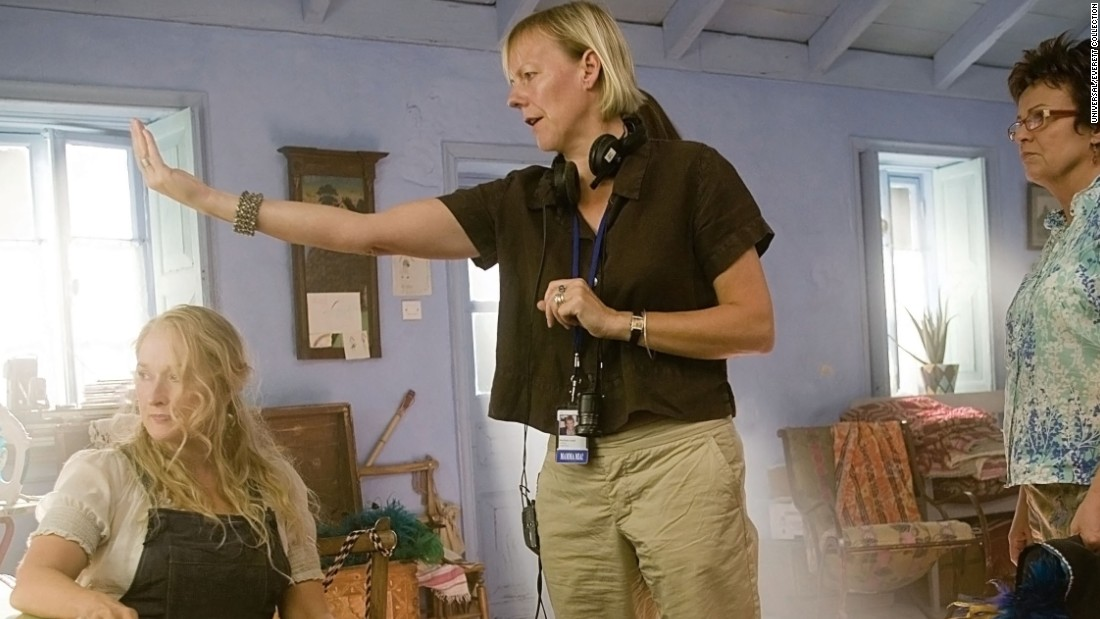 "British director Phyllida Lloyd, center, made a big splash on her first stab at directing a film. ""Mamma Mia!"" drew $144 million domestically, a rare occurrence for musicals in the world of feature films. Meryl Streep, left, and Julie Walters starred in the film."