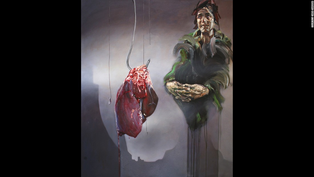 "The suffering of Syrians is depicted in artist Sara Shamma's ""World Civil War Portraits."" This painting is titled ""Butcher."""