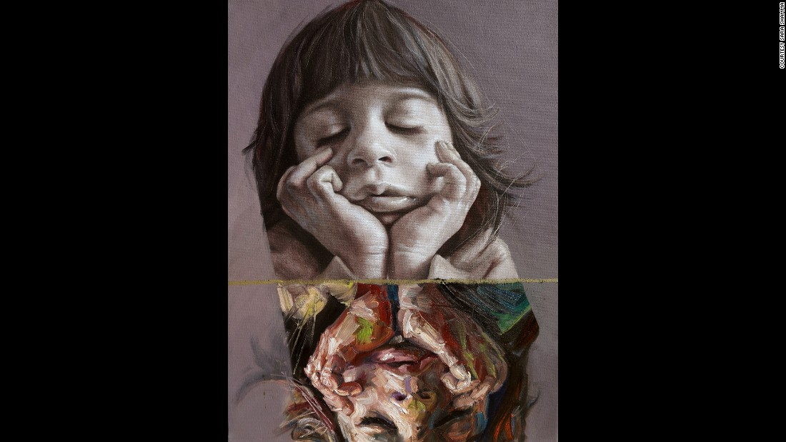 """Amal"" is the name of this 2015 oil painting on canvas. Some 7.5 million Syrian children are in need of humanitarian aid, according to UNICEF."
