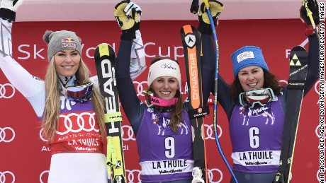 Lindsey Vonn (left) took second place in the World Cup downhill in La Thuile behind Nadia Fanchini of Italy.