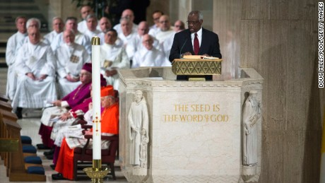 Justice Clarence Thomas makes a reading during the funeral Mass for Associate Justice Antonin Scalia at the Basilica of the National Shrine of the Immaculate Conception in Washington, DC.