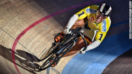 Forstemann in full flow as he sets the fastest time against the clock for one lap of the Berlin velodrome.