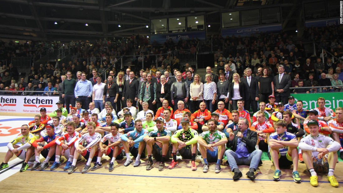 The riders and officials gather before the start of the 105th staging of the Berlin Six Day.