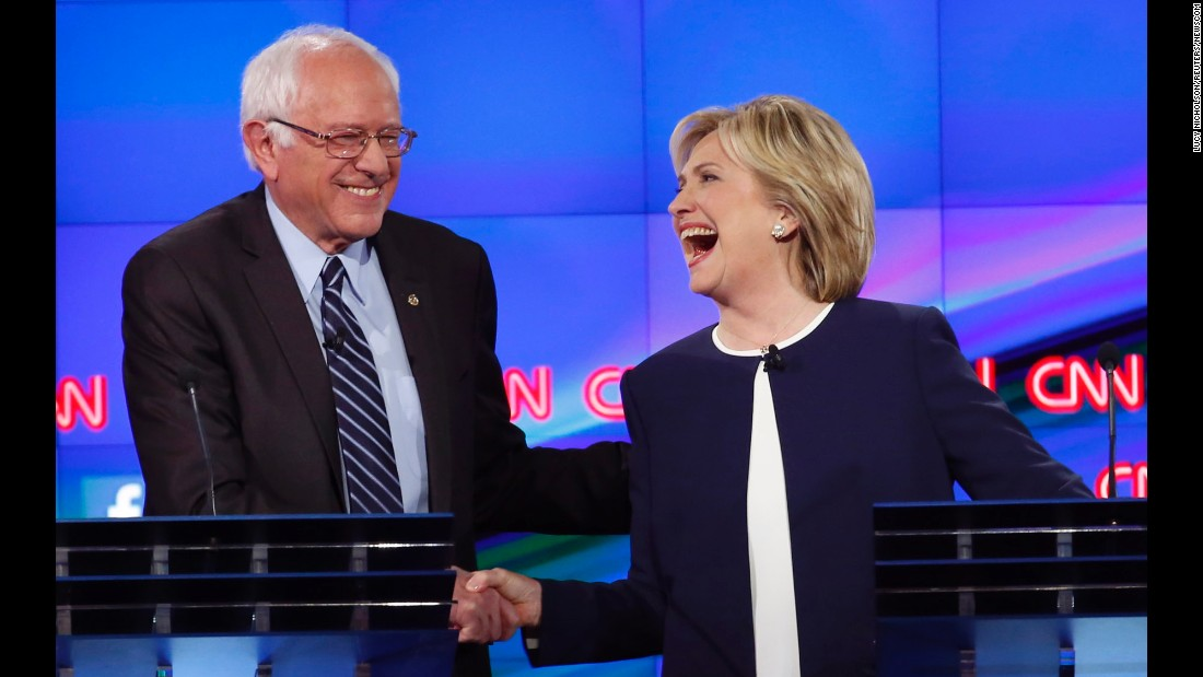 "<a href=""http://www.cnn.com/2015/10/13/politics/gallery/democratic-debate-las-vegas/index.html"" target=""_blank"">Sanders shakes hands with Hillary Clinton</a> at a Democratic debate in Las Vegas on October 13. The hand shake came after Sanders' take on <a href=""http://www.cnn.com/2015/09/03/politics/hillary-clinton-email-controversy-explained-2016/index.html"" target=""_blank"">the Clinton email scandal.</a> ""Let me say something that may not be great politics, but the secretary is right -- and that is that the American people are sick and tired of hearing about the damn emails,"" Sanders said. ""Enough of the emails, let's talk about the real issues facing the United States of America."""