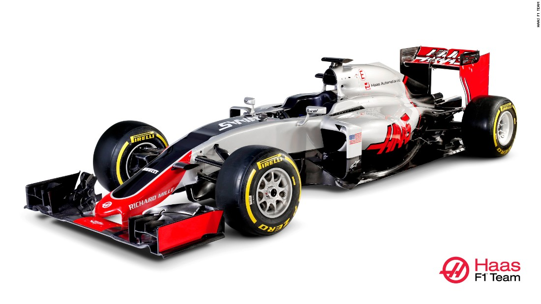 Here's what the first American F1 car for 30 years looks like! Industrialist and NASCAR team owner Gene Haas joins the F1 grid in 2016 with his eponymous Haas F1 Team and the VF-16 car.